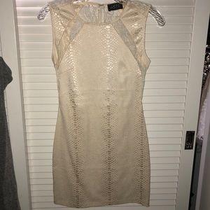 ASTR cream print bodycon dress